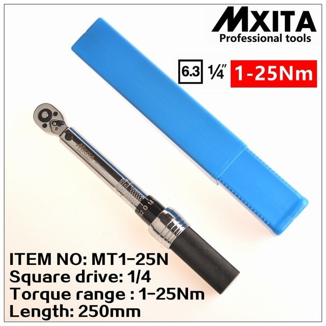 "MXITA  1/4""DR. 2-14N.m Manual Torque Wrench Spanner Ratchet Wrench Suit For Repairing Bicycle Packed in Plastic Storage Box"