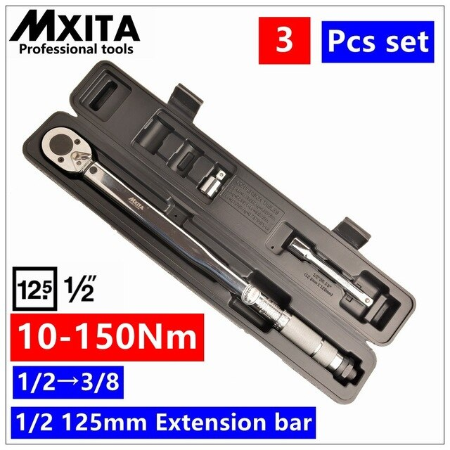 "MXITA  Dual Drive 1/2"" and 3/8""  28-210Nm Torque Ratchet Wrench Torque Wrench Universal wrench in BOX hand tool set"