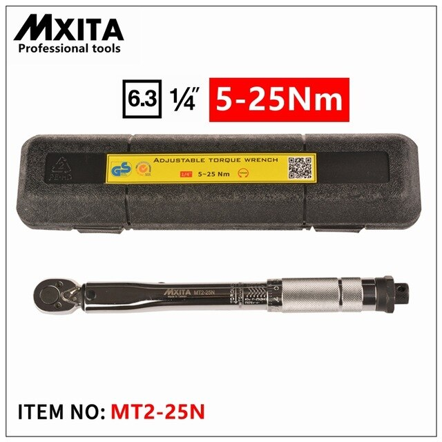 MXITA 1/4'' Drive Torque Wrench Capri Tools W/ Case Foot Pound 5-25NM Drive Click Adjustable Hand Spanner Ratchet Wrench Tool