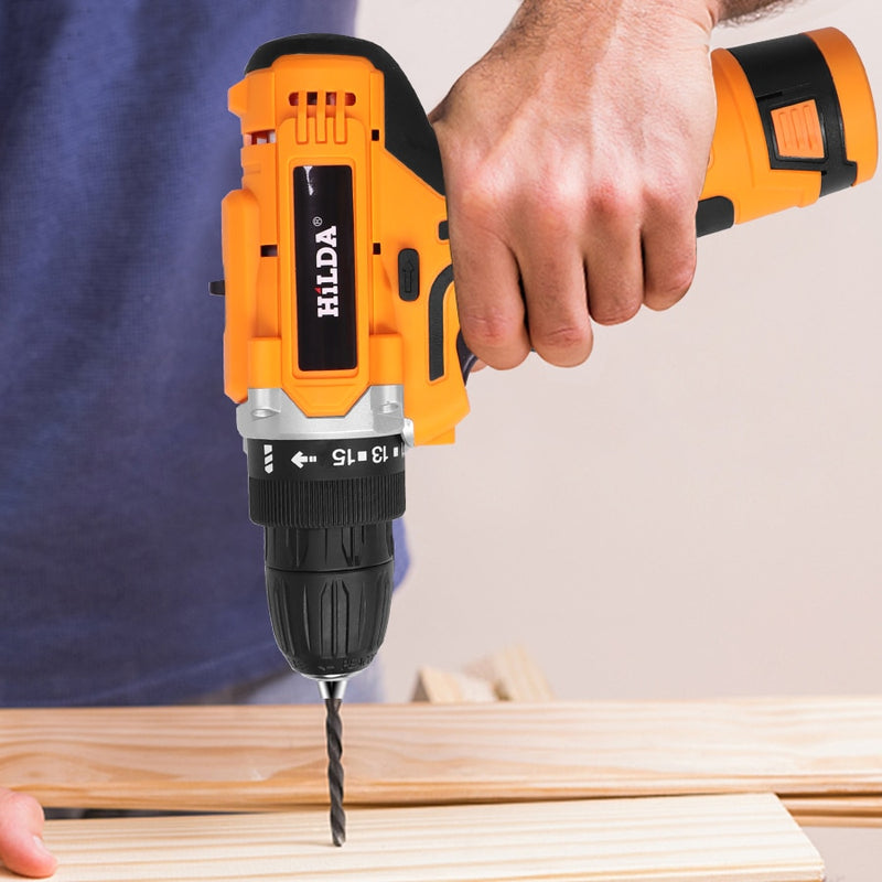 Electric Drill With Rechargeable Lithium Battery Electric Screwdriver Cordless Screwdriver Two-speed Power Tools 12V