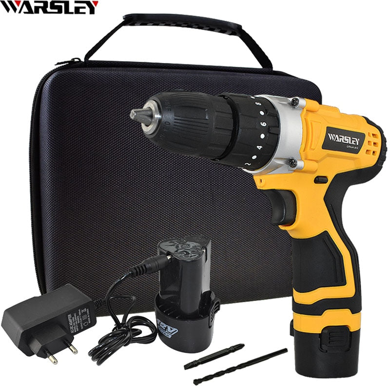 Rechargeable 1.5Ah Lithium Battery 12V Impact Drill Home DIY Power Tools Electric Screwdriver Electric Drill Mini Cordless Drill