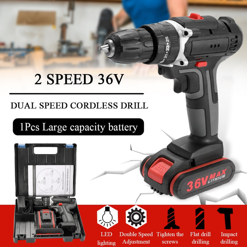 Meterk 36V Electric Impact Cordless Drill Electric Screwdriver LED lighting 1 Li-ion Battery Rechargeable 2-Speed DIY Power Tool