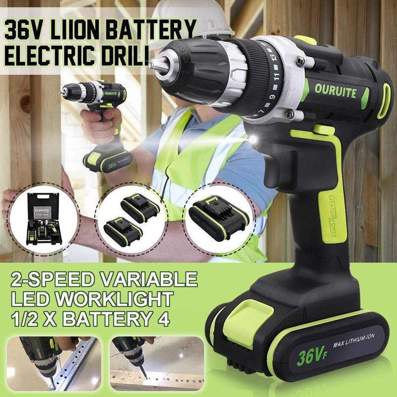 36V Max Double Speed Household Power Tool Electric Screwdriver with LED Light Lithium Battery Cordless Drill for Woodworking