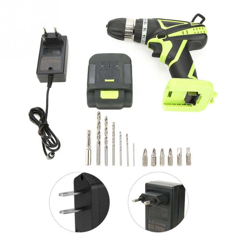 14.4V Rechargeable Lithium Battery Hand Cordless Electric Drill Screwdriver Tool Kit NEW