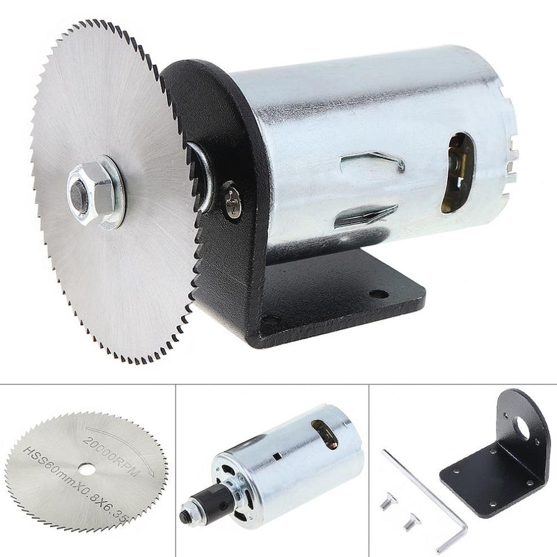 24V 555 Motor Table Saw Kit with Ball Bearing Mounting Bracket and 60mm Saw Blade for Cutting  / Engraving