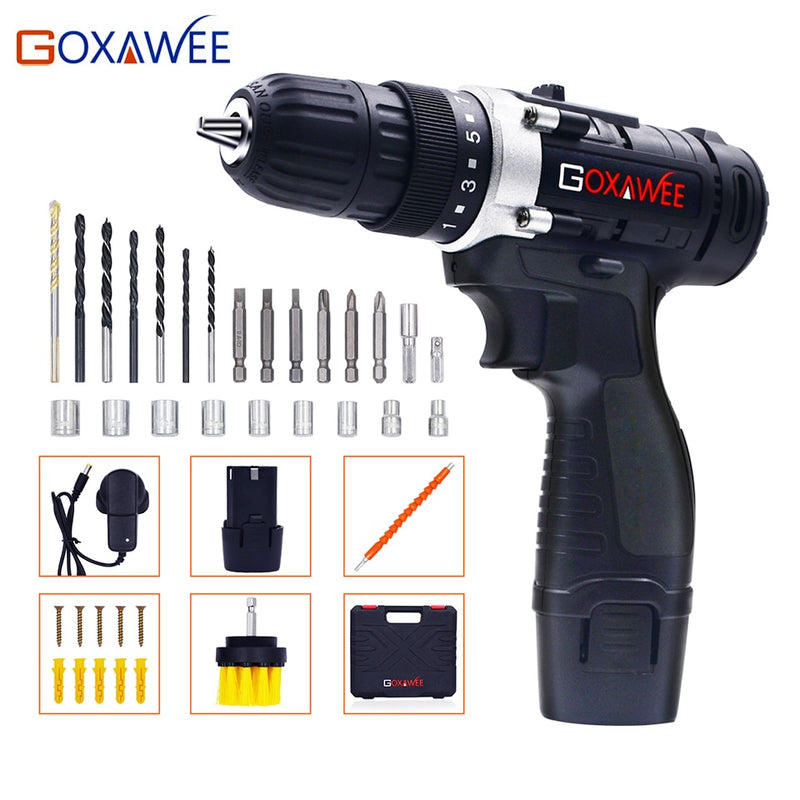 GOXAWEE 12V Max Electric Screwdriver Cordless Drill Mini Wireless Power Drill Driver DC DIY Tools Lithium Battery with 2-Speed