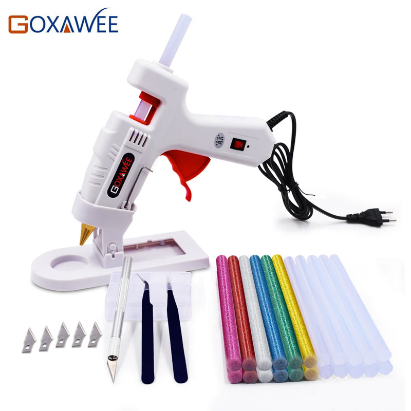 Goxawee 34pcs High Temp Hot Melt Glue Gun With 11mm Glue Sticks Industrial Mini Repair Home DIY Tools Glue Gun Kit
