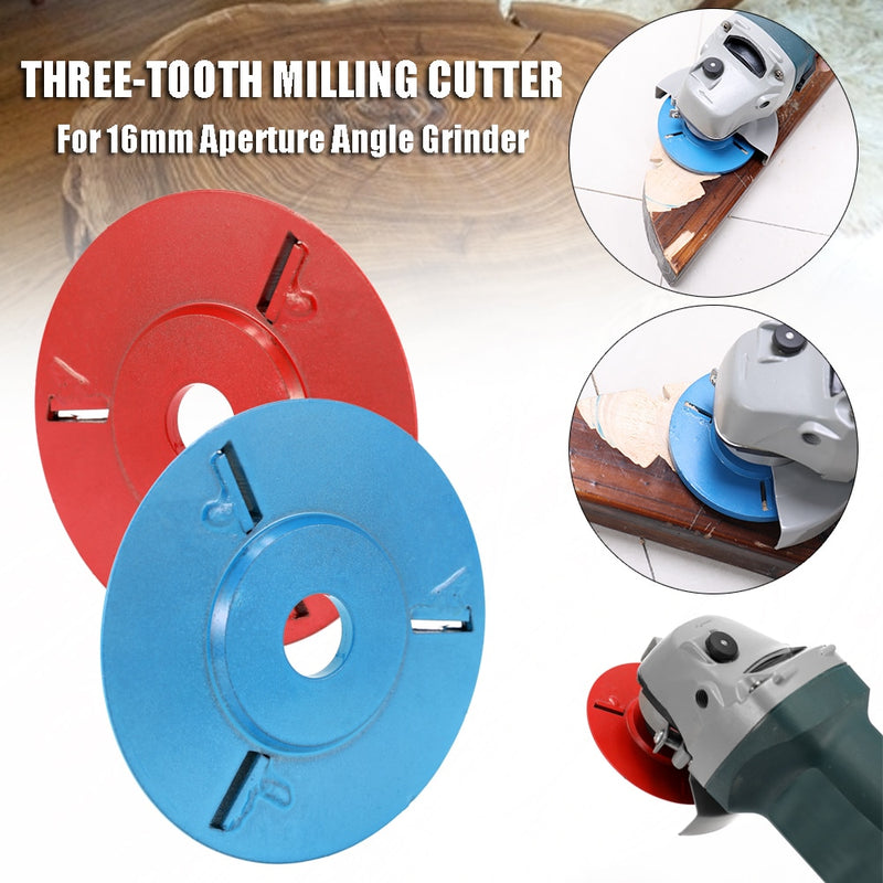 Red/Blue Three Teeth Power Wood Carving Disc Angle Grinder Woodworking Turbo Milling Cutter for 16mm Aperture Angle Grinder