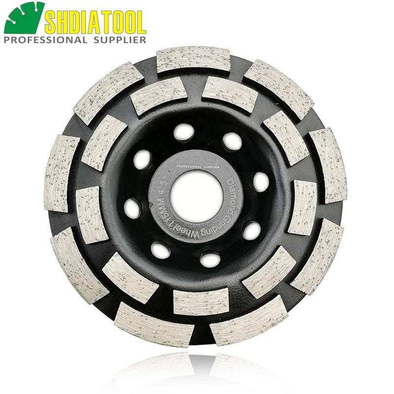 "SHDIATOOL 4.5""/115mm Diamond Double Row Grinding Cup Wheel For Concrete Granite And Hard Material Grinding Disc Bore 22.23mm"