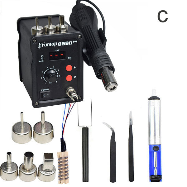 Black 700W 858D++  ESD Soldering Station LED Digital SMD Solder Blowser Hot Air Gun Upgraded from 858D 858D+