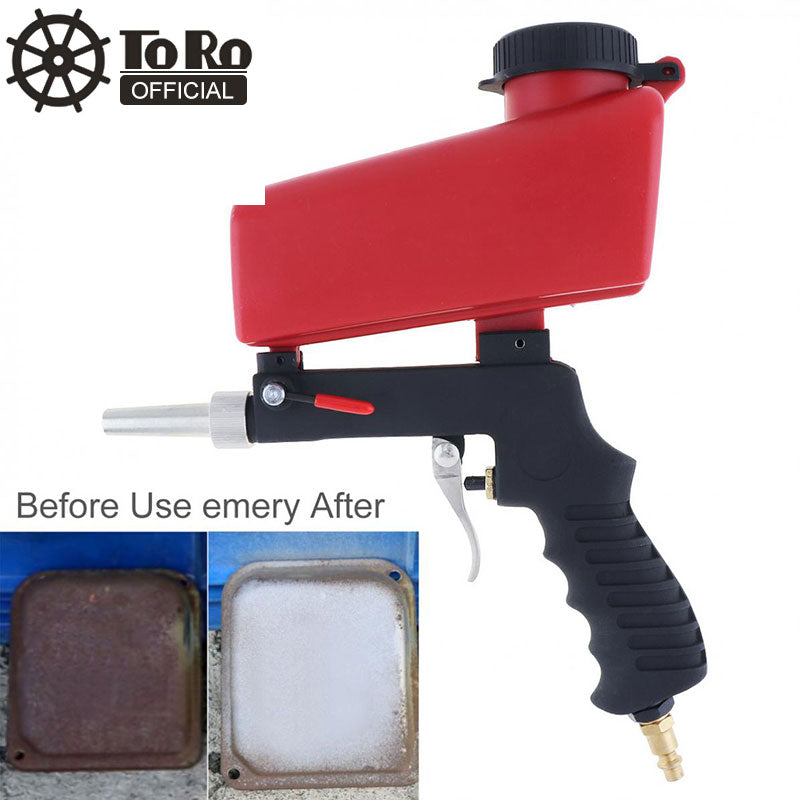 TORO Portable Sand Blaster Pneumatic Sand Blasting Gun Sandblasting Upper Pot with Flow Adjustment Switch sandblasting gun