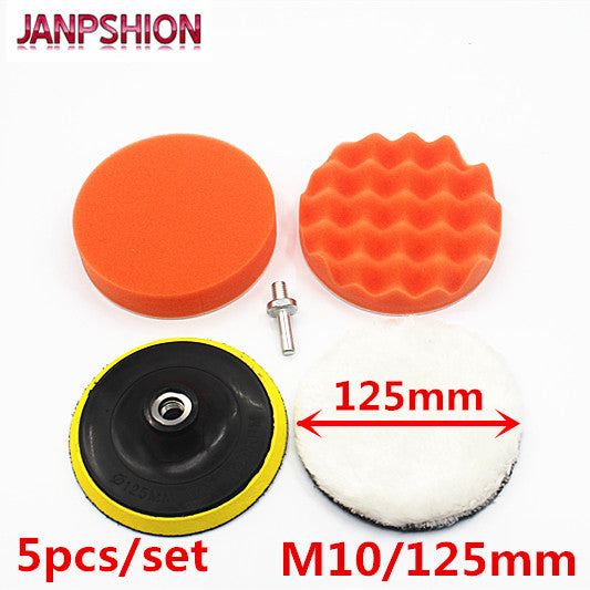 JANPSHION 5pc M10 / 125mm 5'' Sponge Polishing Waxing Buffing Pads Kit Compound Auto Car+Drill