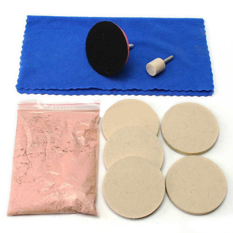 "100g  OSSIEAO Cerium Oxide Glass Polishing Kit Windscreen Scratch Remover + 3"" Pad + Felt"