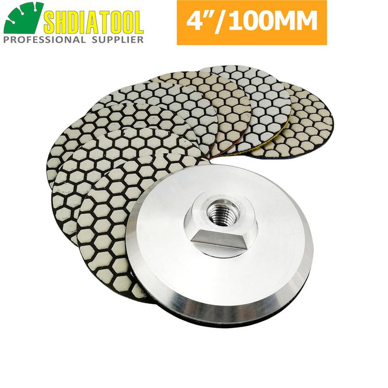 SHDIATOOL 7pcs 100MM Resin Bond Diamond Polishing Pads+1pc M14 Aluminum Base Backer, Sanding Disc Granite Marble Polishing Disc