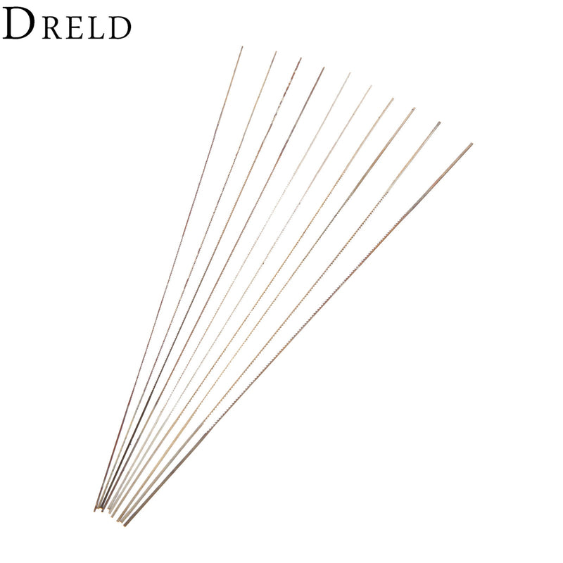 DRELD 10Pc 130mm Scroll Saw Blades For Wood Metal Cutting 0#/1#/2#/4#/6# Fine-toothed Jig Saw Blades Woodworking Tool Power Tool