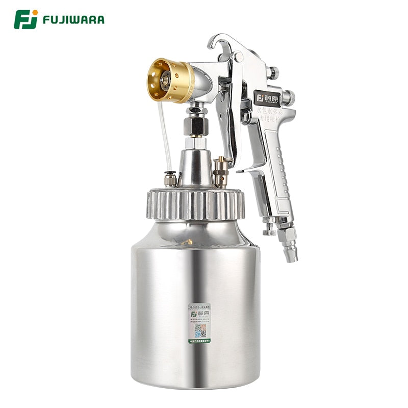 FUJIWARA Pneumatic Imitation Stone Paint Spray Gun Colourful Lacquer Airbrush High-capacity 1.5L Pressure Bucket Marble Paint