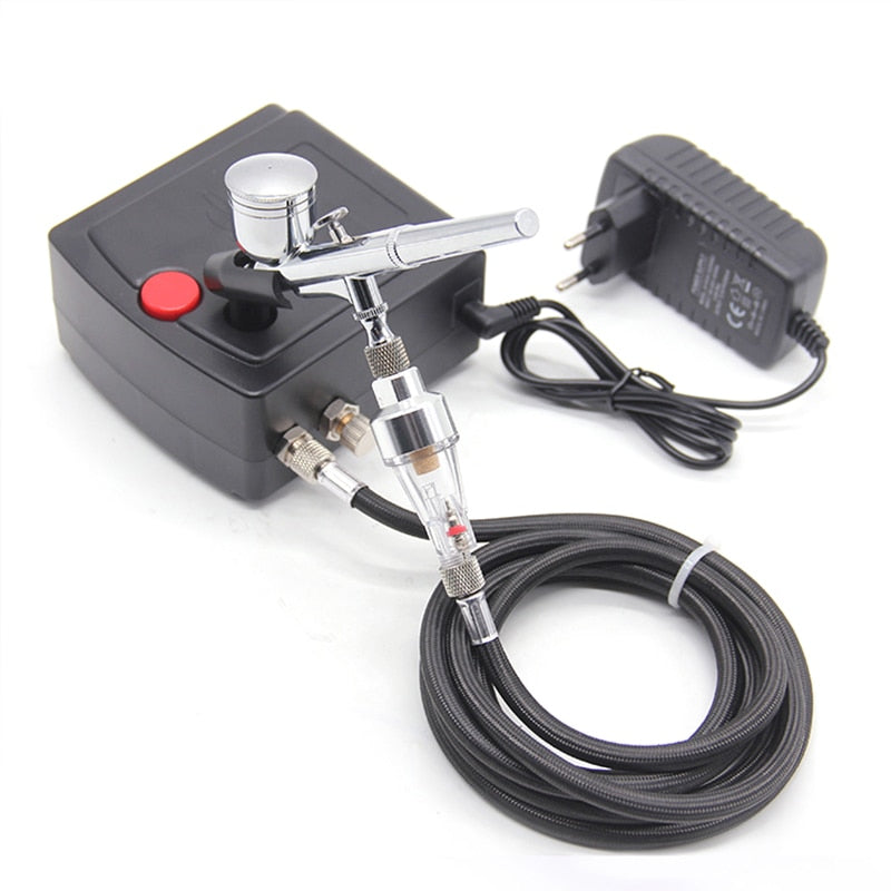 Dual Action Airbrush Spray Gun Air Compressor Kit Art Painting Tattoo Manicure Craft Cake Spray Model Air Brush Nail Tool Set
