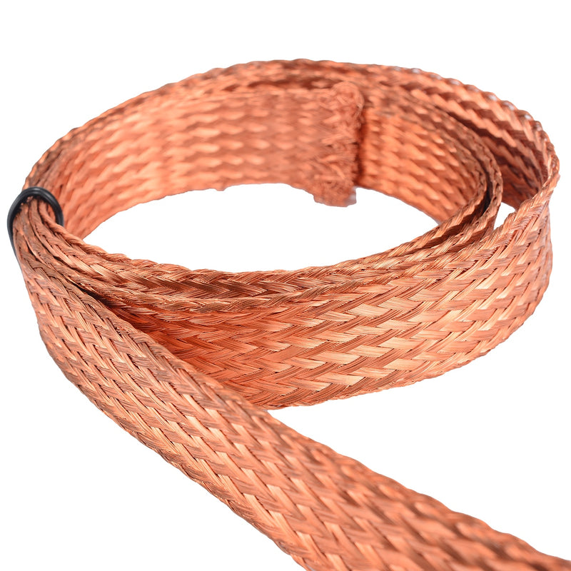 Flat Pure Copper Braid Cable Bare Ground Lead Copper Braid Wires 1m 3.3ft x 15mm