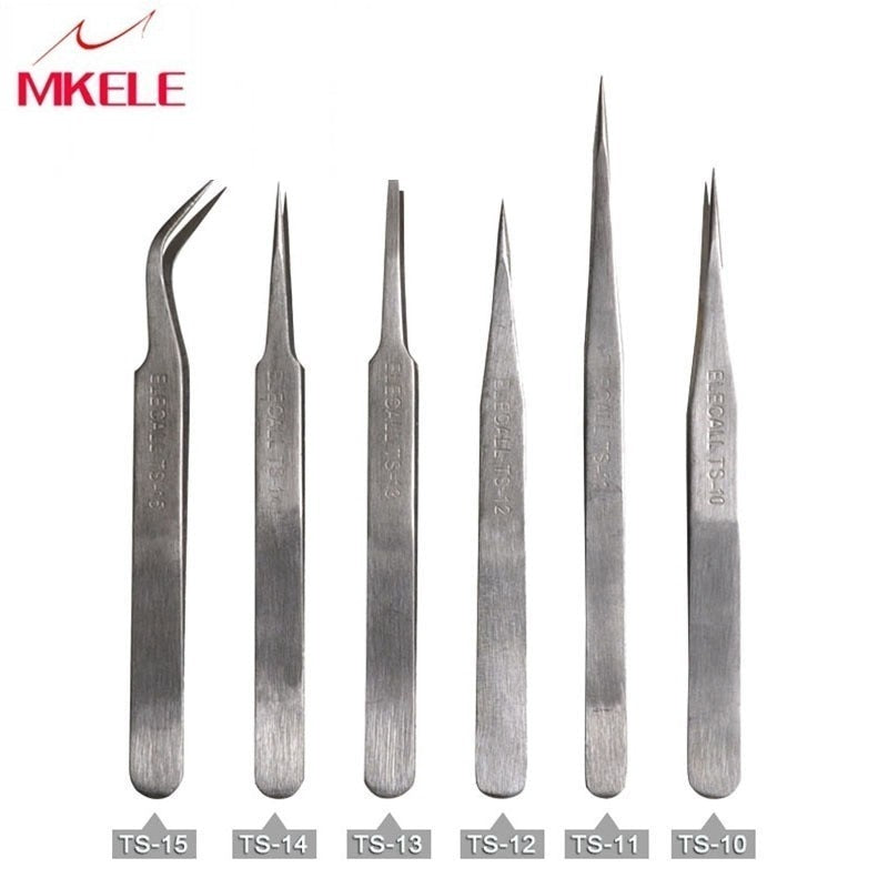 Good Quality TS Series of 6 PCS Safe Stainless Steel Tweezers Set Anti-Acid Non-Corrosive Nipper Repairing Maintenance Tools