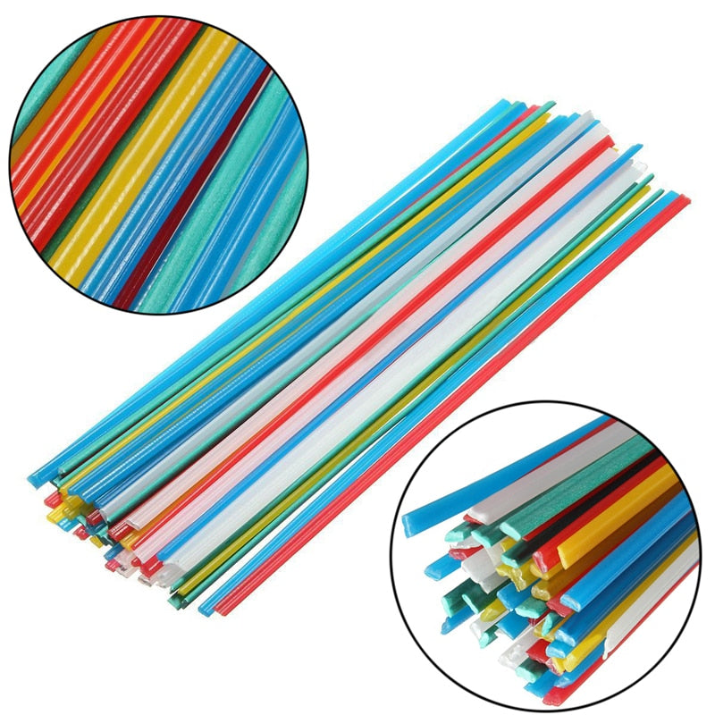 50Pcs 25cm Plastic Welding Rods PPR PP PVC Plastic Welding Sticks With Corrosion Resistance 5 Colors Blue/White/Yellow/Red/Green