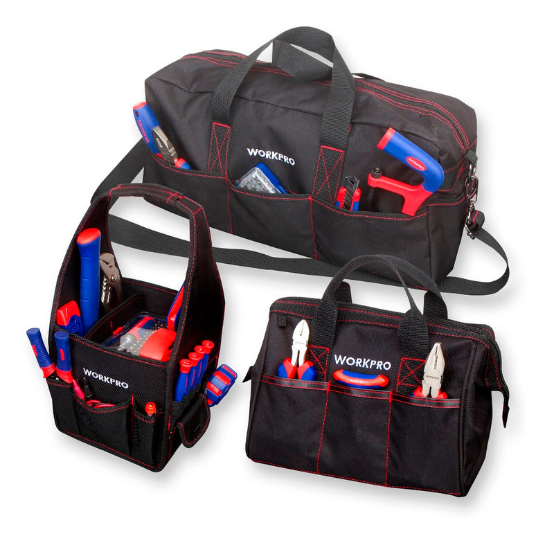 "WORKPRO Durable Tool Bag Combo 2PC Handbags 1PC Shoulder Bag 8"" 12"" 19"" Waterproof Electrician Bags 600D Polyester 3PCS/Lot"
