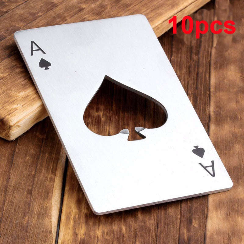 10pcs Pocekt Stainless Steel Poker Card Shape Casino Bottle Can Opener Wrench for Beer Bottle Wine Kitchen Gadgets Cooking Tools