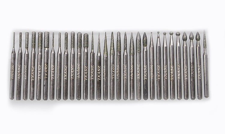 30pcs DIAMOND BURS bur bit set DREMEL 3mm shank Rotary Tool Drill Bit for grinding jade, stone, marble glass