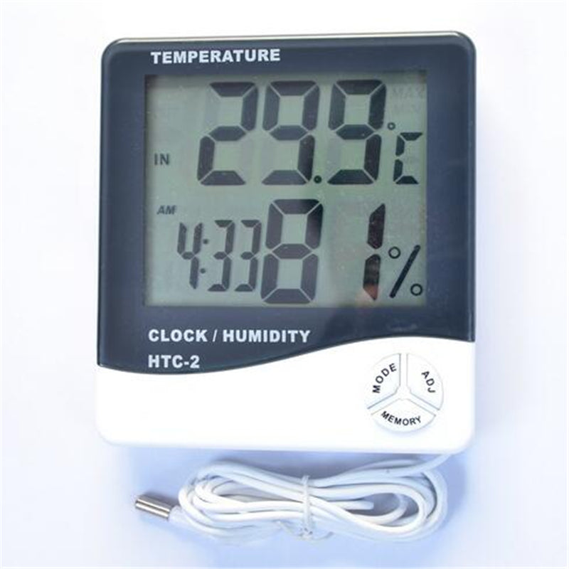 The newest High-accuracy HTC-2 LCD Digital Electronic Thermometer Tester Clock Household for Indoor Outdoor use jt009