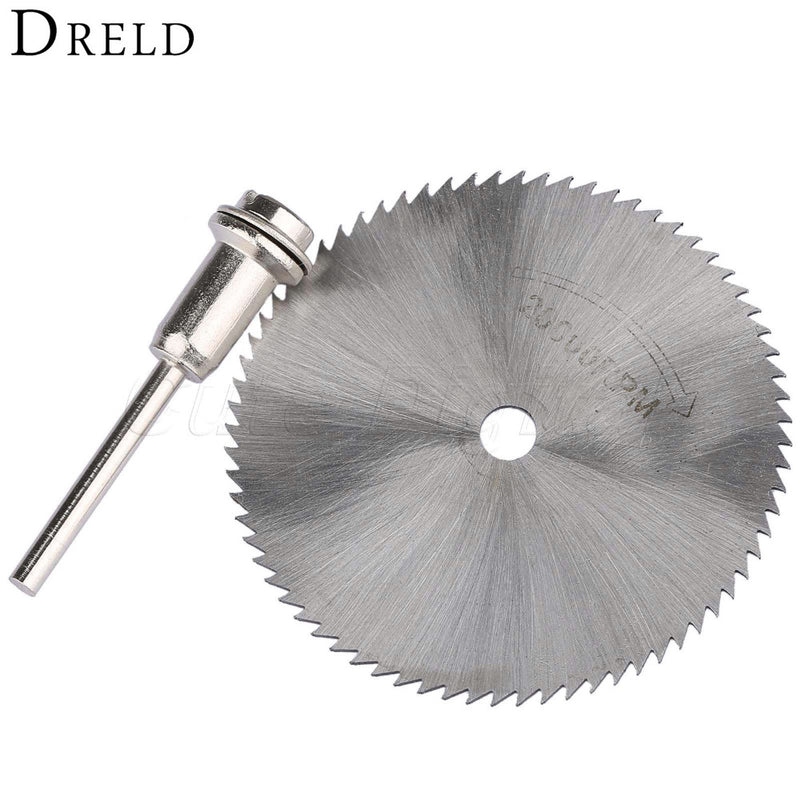 HSS 60mm Steel Rotary Tools Circular Saw Blade Cutter Cutting Cut Off Wheel Disc w/ Mandrel for ABS Wood Plastic Cutter