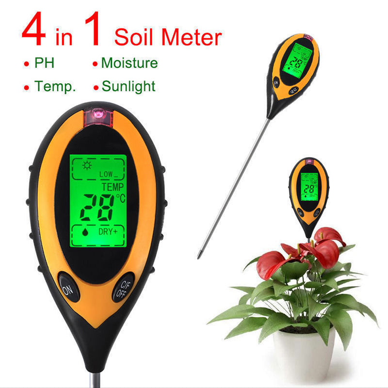 Professional 4 In1 LCD Temperature Sunlight Moisture PH Garden Soil Tester PH Meters Brand New