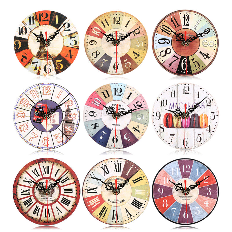 New Arrival Wooden Round Clock Artistic Creative European Style Round Colorful Vintage Rustic Decorative Wood Wall Clock