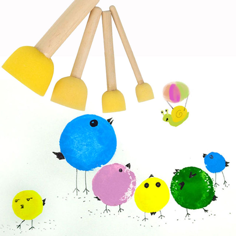 4PCS Sponge yellow Paint Brush Wooden Handle Painting Graffiti Kids DIY Doodle Toys Art Children's Painting Tool Drawing Toys