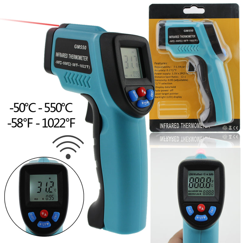 LCD Precise Non-Contact Digital IR Laser Infrared thermometer -50~550 Degree Temp Temperature Meter Pyrometer IR Laser Point Gun