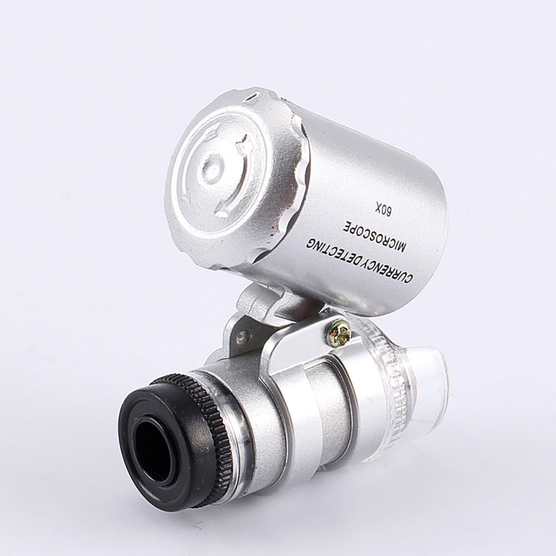 Mini Lens 60X Pocket Magnifier Microscope With LED Light Jewelry Jeweler Loupe Currency Dectector