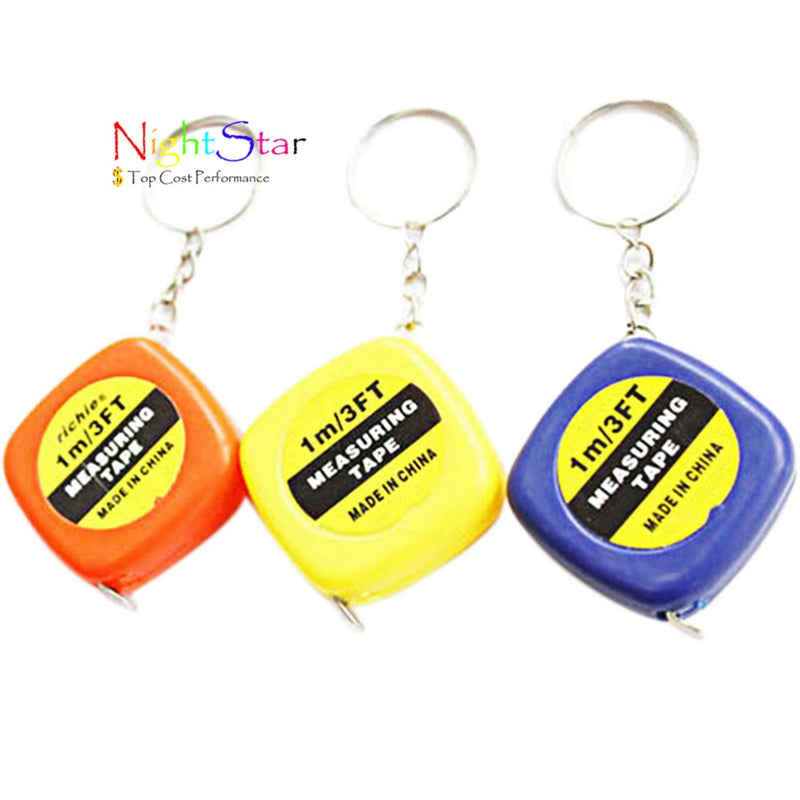 5pcs/pack Style New Mini Keychain Key Ring Easy Retractable Tape Measure Pull Ruler 1M Color Random