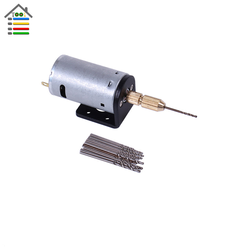 Mini Micro DC 3-12V Electric Motor PCB Hand Drill Press Drilling w/16pc 0.8mm-1.5mm Twisit Bits and Stand Bracket 2.3mm Collet