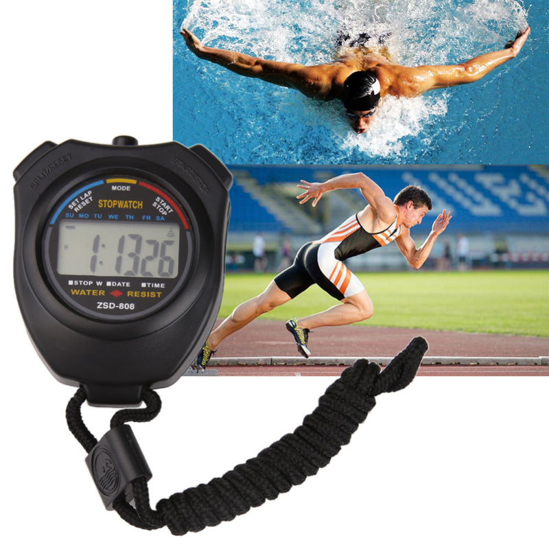 Waterproof Digital Timer LCD Stopwatch Electronic Timer Chronograph Timer Hour Meter Counter Sports Stopwatch with Strap