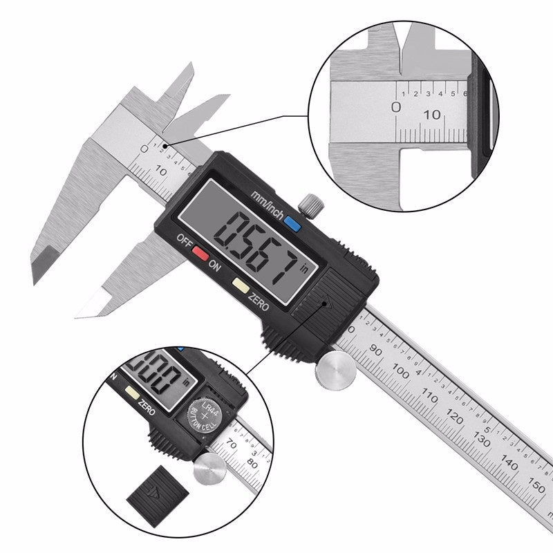 0-150/200/300mm 0.01mm Electronic Digital Caliper Vernier Calipers Stainless Steel Micrometer Measuring Tools with LCD Screen