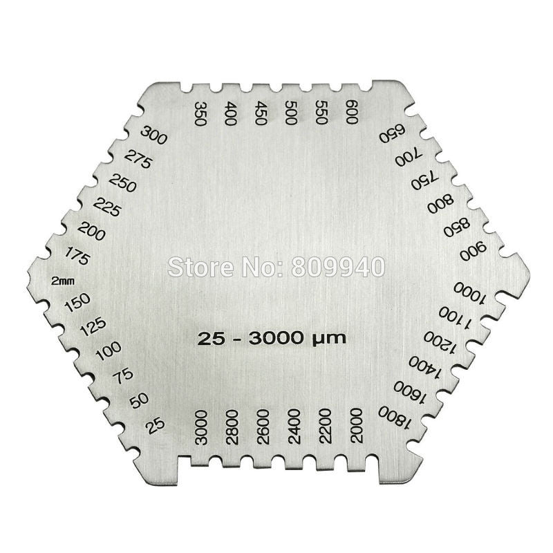 High precision hexagon stainless steel Wet film comb 25-3000um wet film thickness gauge