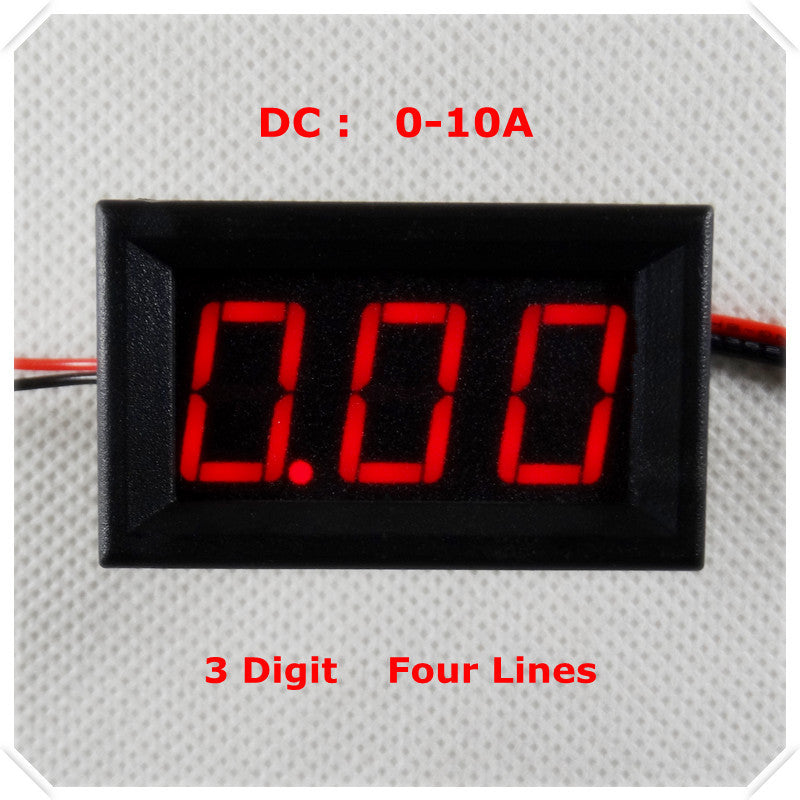 "RD 0.56"" Digital Ammeter DC 0-10A Four wires AMP 3 digit Current Panel Meter led Display Color [ 4 pieces / lot]"