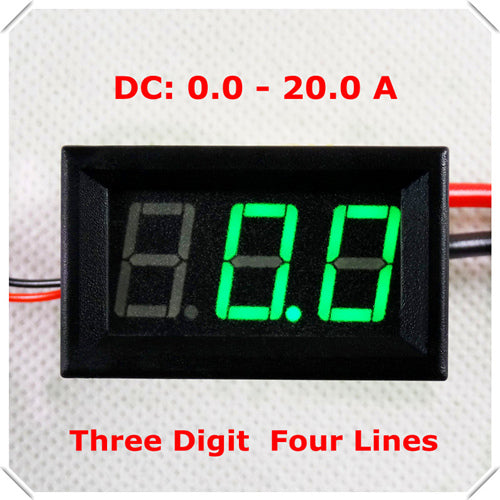 "RD 0.56"" Digital Ammeter AMP DC 0-20A Four wires 3 digit Current Panel Meter led Display Color: Red [ 4 pieces / lot]"