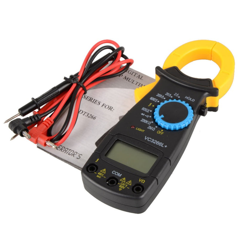 New Black AC Digital Clamp DT3266L  LCD Display Digital Multimeter  Digital Clamp Meter Probe Without Battery VE239 T10