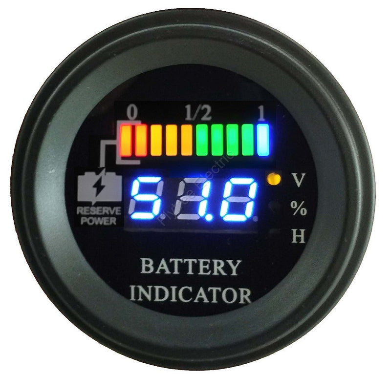 Round LED Digital Battery gauge discharge Indicator hour meter state of charge forklift, EV, 12V 24V 36V 48V 60V up to 100V