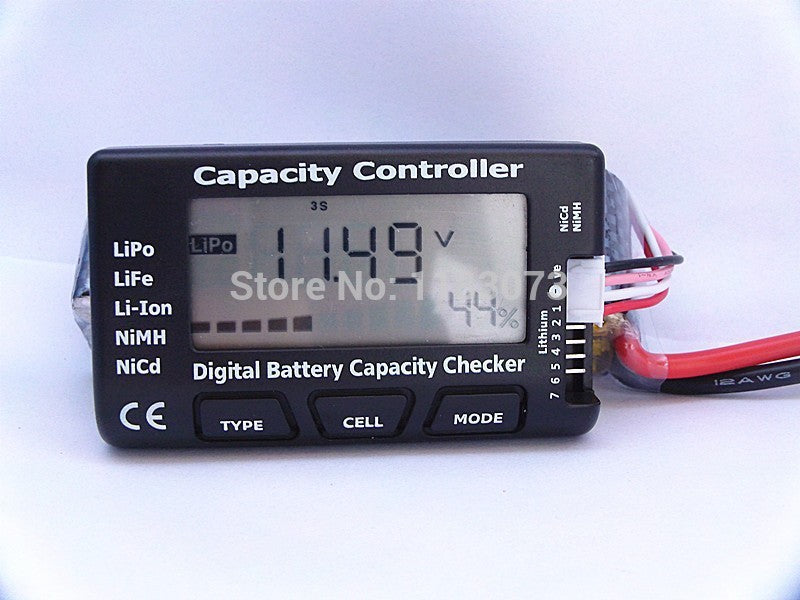 Brand RC Battery Capacity Controller Digital Battery Capacity Checker LiPo LiFe Li-ion NiMH Nicd Battery Tester CellMeter-7