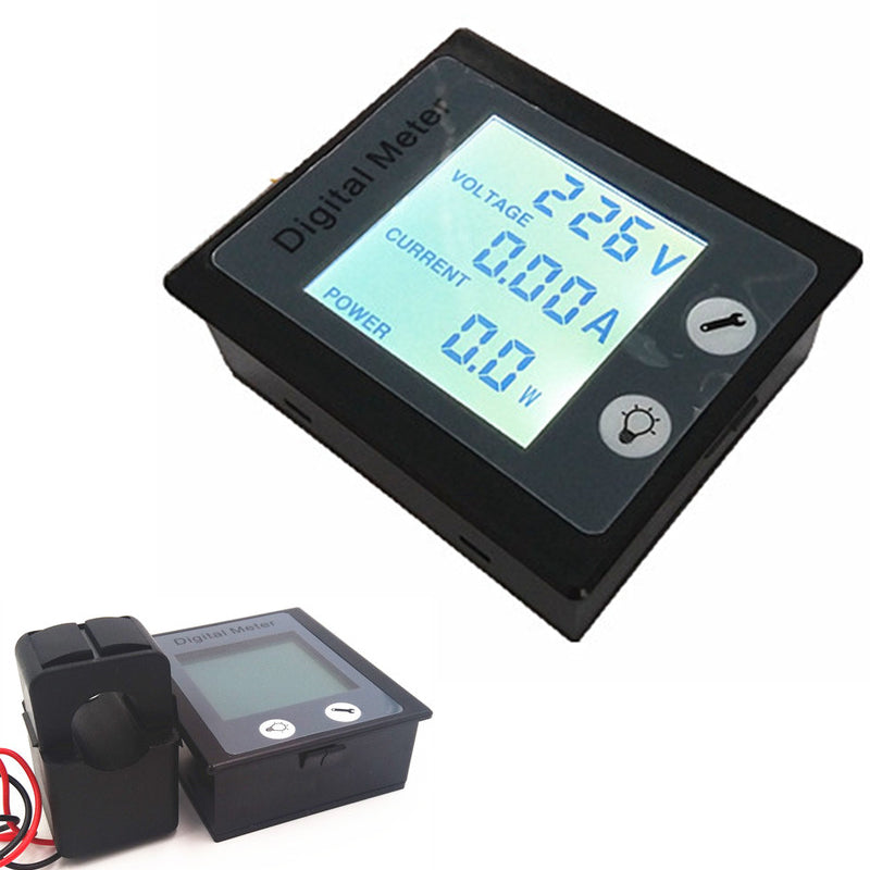 New! AC 80-260V 100A AC Ammeter Voltmeter Power / Energy Meter Gauge Voltimetro Amperimetro & STN LCD Backlight & split core CT