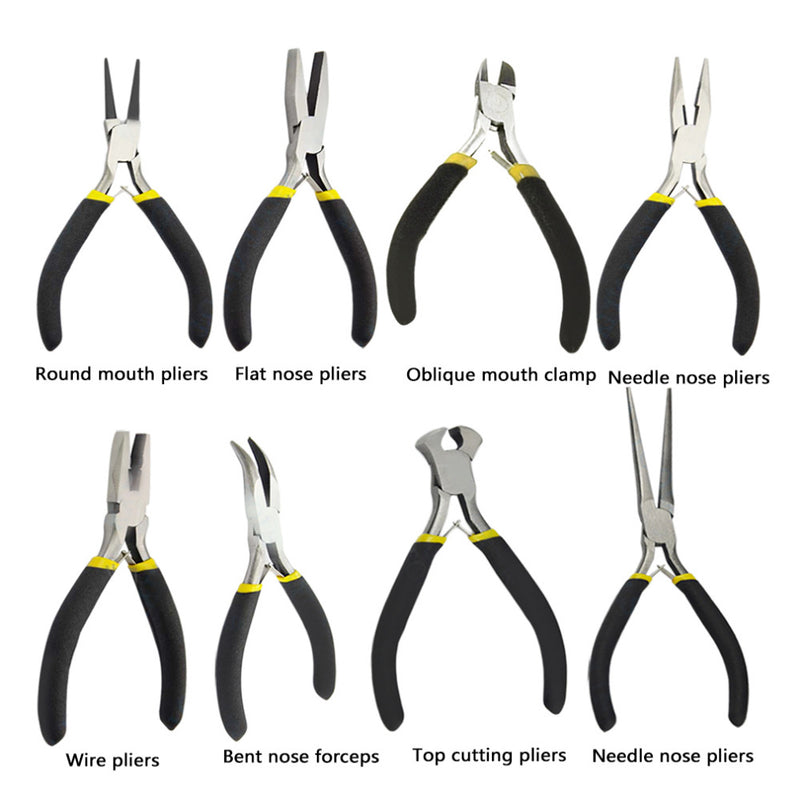 New Light Weight Durable Carbon Steel Forging Jewellery Making Beading Mini Pliers Tools Kit Set Round Flat Long Nose