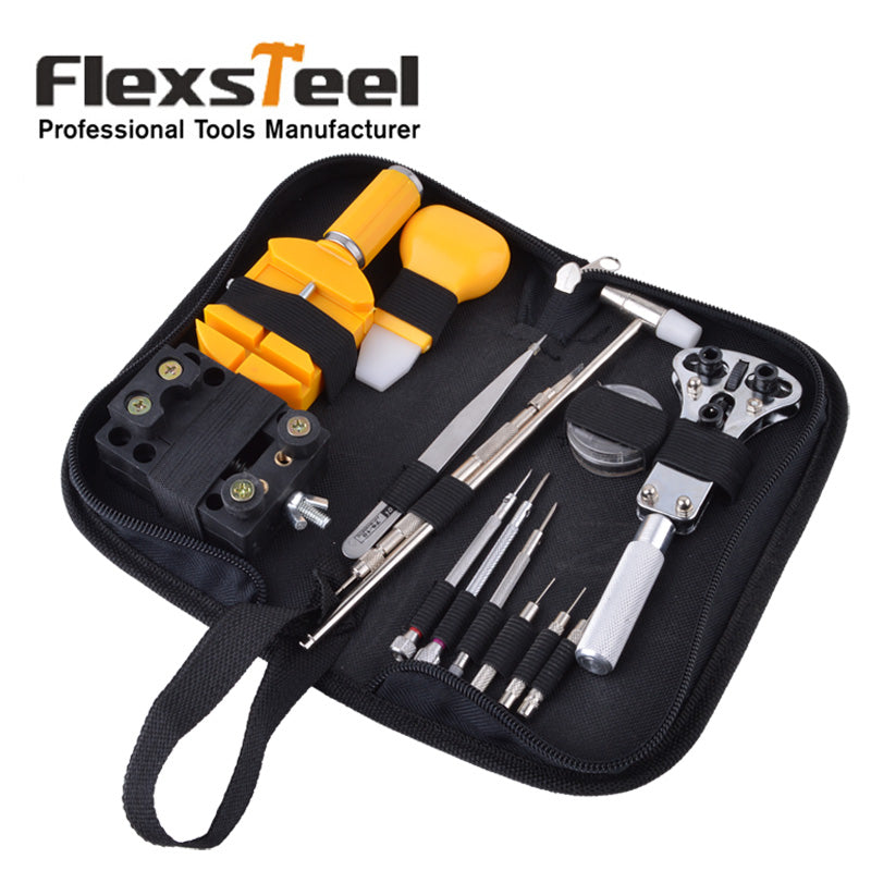 Flexsteel 32pcs Watch Repair Tool Kit Set With Case Opener Link Remover Spring Bar Remover Tweezer Screwdriver Pin and Hammer