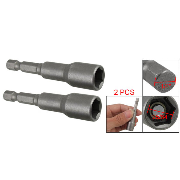 THGS  2Pcs 1/4 Shank Magnetic 10mm Socket Wrench Hex Nut Driver Bit