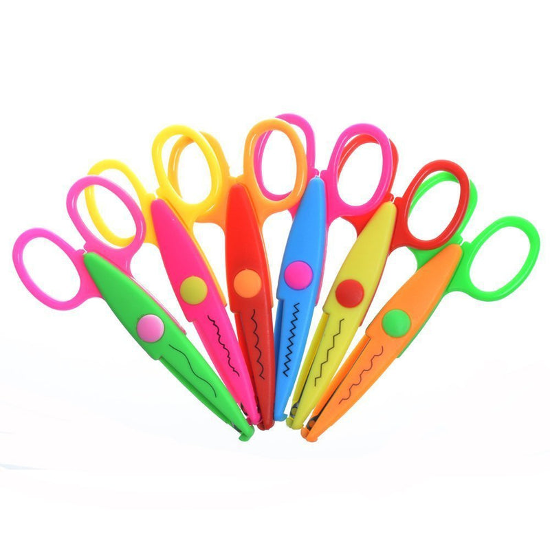 Pack of 6 Assorted Colors Kids Smart Paper Edger Scissors for Teachers, Students, Crafts, Scrapbooking, DIY Photos, Album,
