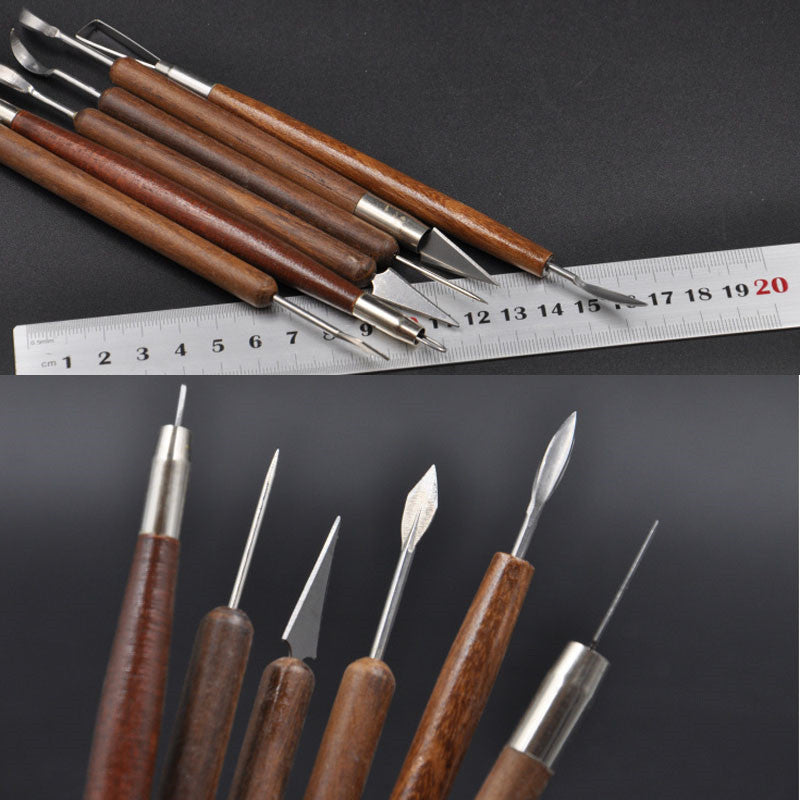 6Pcs New Clay Sculpting Set Wax Carving Pottery Tools Shapers Polymer Modeling Kit Tools WB033 P0.11